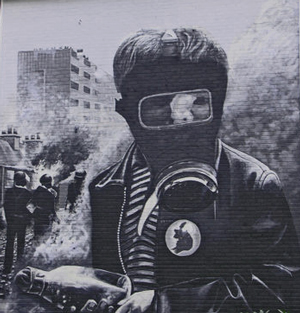 Boy in gas mask at the Battle of the Bogside